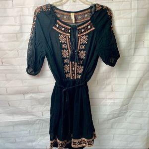 Raga Sheer Embroidered Tassel Dress / Coverup